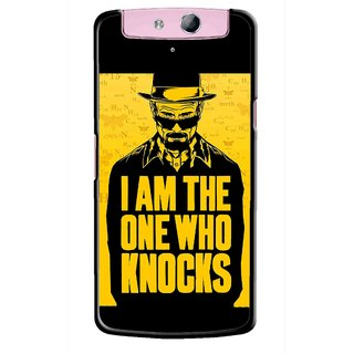 Snooky Printed Who Knocks Mobile Back Cover For Oppo N1 Mini - Black