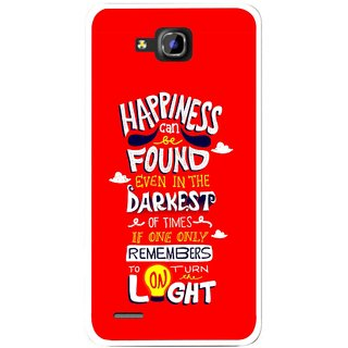Snooky Printed Happiness Is Every Where Mobile Back Cover For Huawei Honor 3C - Red