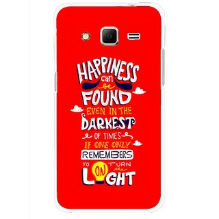 Snooky Printed Happiness Is Every Where Mobile Back Cover For Samsung Galaxy Core Prime - Red