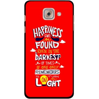 Snooky Printed Happiness Is Every Where Mobile Back Cover For Samsung Galaxy J7 Max - Red