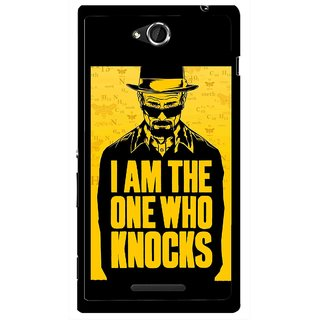 Snooky Printed Who Knocks Mobile Back Cover For Sony Xperia C - Black