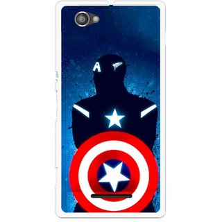 Snooky Printed America Sheild Mobile Back Cover For Sony Xperia M - Multicolour