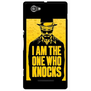 Snooky Printed Who Knocks Mobile Back Cover For Sony Xperia M - Black