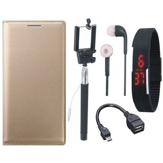Redmi Note 3 Premium Leather Cover with Selfie Stick, Digtal Watch, Earphones and OTG Cable