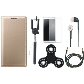 Redmi Note 3 Premium Leather Cover with Free Spinner, Selfie Stick, Tempered Glass, Earphones and AUX Cable