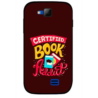 Snooky Printed Reads Books Mobile Back Cover For Micromax Canvas Fun A63 - Brown