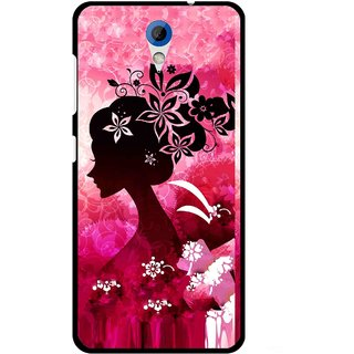 Snooky Printed Pink Lady Mobile Back Cover For HTC Desire 620 - Pink