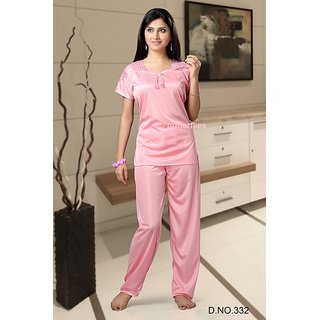 332 Hot Sleep Set 2pc Top   Pajama Night Dress Light Pink Bed Lounge Wear  Fun Prices in India- Shopclues- Online Shopping Store ed66dd10e