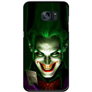 Snooky Printed Loughing Joker Mobile Back Cover For Samsung Galaxy S7 - Green