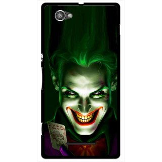 Snooky Printed Loughing Joker Mobile Back Cover For Sony Xperia M - Green