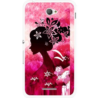 Snooky Printed Pink Lady Mobile Back Cover For Sony Xperia E4 - Pink