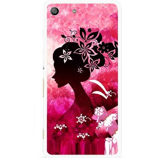 Snooky Printed Pink Lady Mobile Back Cover For Sony Xperia M5 - Pink