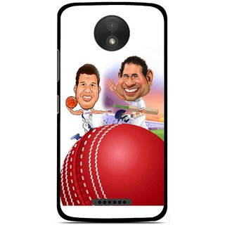 Snooky Printed Play Cricket Mobile Back Cover For Motorola Moto C Plus - Multicolour