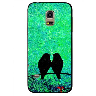 Snooky Printed Love Birds Mobile Back Cover For Samsung Galaxy S5 Mini - Green
