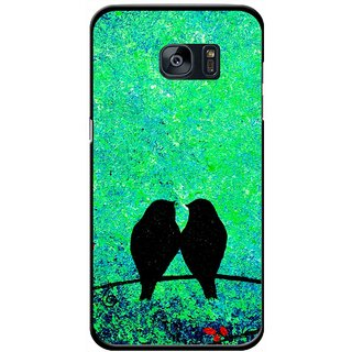 Snooky Printed Love Birds Mobile Back Cover For Samsung Galaxy S7 - Green