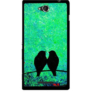 Snooky Printed Love Birds Mobile Back Cover For Sony Xperia C - Green