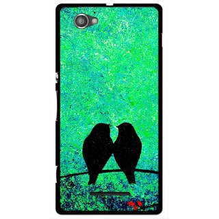 Snooky Printed Love Birds Mobile Back Cover For Sony Xperia M - Green