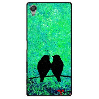 Snooky Printed Love Birds Mobile Back Cover For Sony Xperia X - Green
