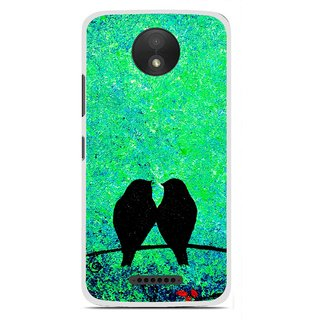 Snooky Printed Love Birds Mobile Back Cover For Motorola Moto C Plus - Green