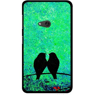 Snooky Printed Love Birds Mobile Back Cover For Nokia Lumia 625 - Green