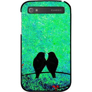 Snooky Printed Love Birds Mobile Back Cover For Blackberry Classic - Green