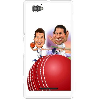 Snooky Printed Play Cricket Mobile Back Cover For Sony Xperia M - Multicolour