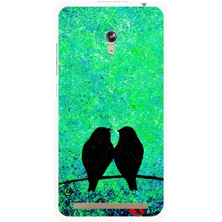 Snooky Printed Love Birds Mobile Back Cover For Asus Zenfone 6 - Green