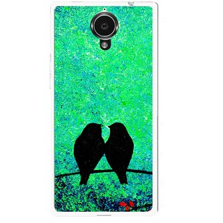 Snooky Printed Love Birds Mobile Back Cover For Gionee Elife E7 - Green