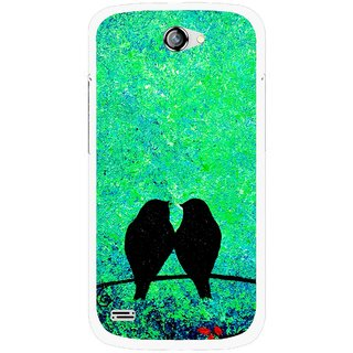 Snooky Printed Love Birds Mobile Back Cover For Gionee Pioneer P3 - Green
