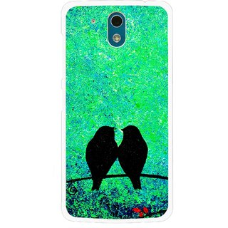 Snooky Printed Love Birds Mobile Back Cover For HTC Desire 326G - Green