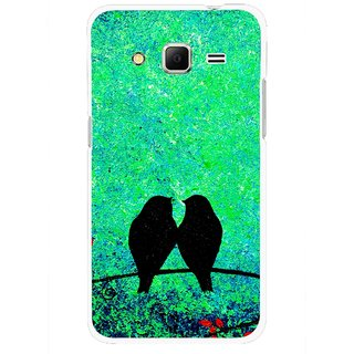 Snooky Printed Love Birds Mobile Back Cover For Samsung Galaxy Core Prime - Green