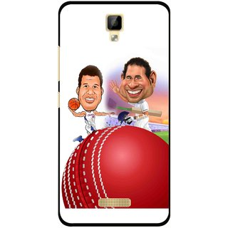 Snooky Printed Play Cricket Mobile Back Cover For Gionee P7 - Multicolour