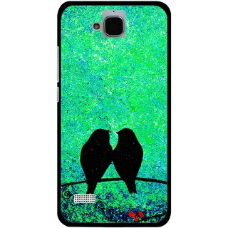 Snooky Printed Love Birds Mobile Back Cover For Huawei Honor Holly - Green