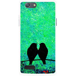 Snooky Printed Love Birds Mobile Back Cover For Oppo Neo 7 - Green