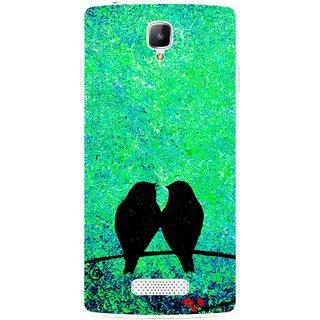 Snooky Printed Love Birds Mobile Back Cover For Oppo Neo 3 R831k - Green