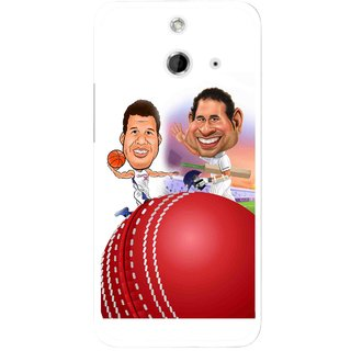 Snooky Printed Play Cricket Mobile Back Cover For HTC One E8 - Multicolour