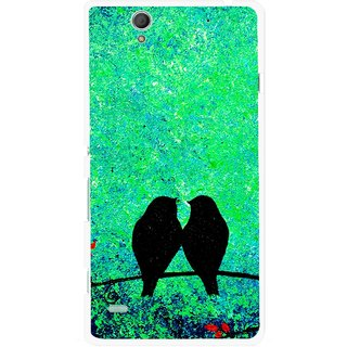 Snooky Printed Love Birds Mobile Back Cover For Sony Xperia C4 - Green