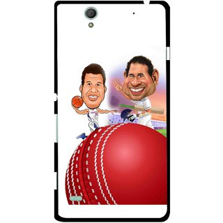 Snooky Printed Play Cricket Mobile Back Cover For Sony Xperia C4 - Multicolour