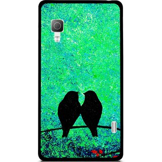 Snooky Printed Love Birds Mobile Back Cover For Lg Optimus L5II E455 - Green
