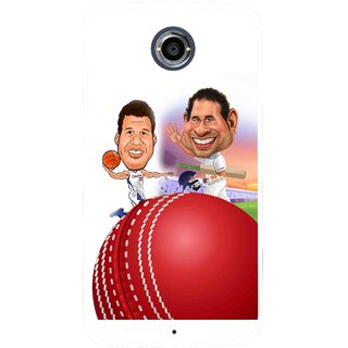 Snooky Printed Play Cricket Mobile Back Cover For Motorola Nexus 6 - Multicolour