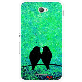 Snooky Printed Love Birds Mobile Back Cover For Sony Xperia E4 - Green