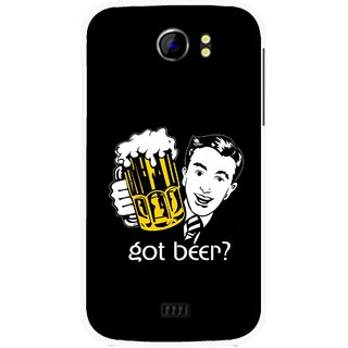 Snooky Printed Got Beer Mobile Back Cover For Micromax Canvas 2 A110 - Multicolour