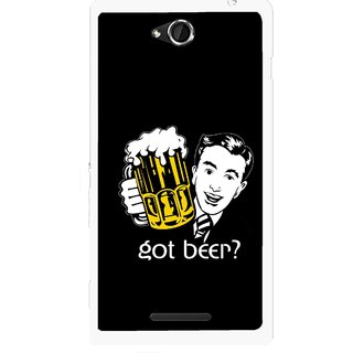 Snooky Printed Got Beer Mobile Back Cover For Sony Xperia C - Multicolour