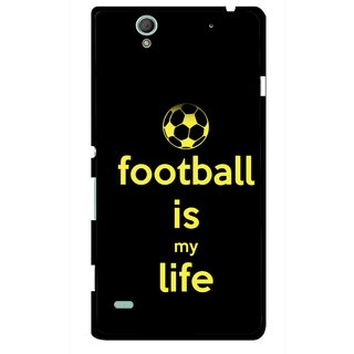Snooky Printed Football Is Life Mobile Back Cover For Sony Xperia C4 - Multicolour