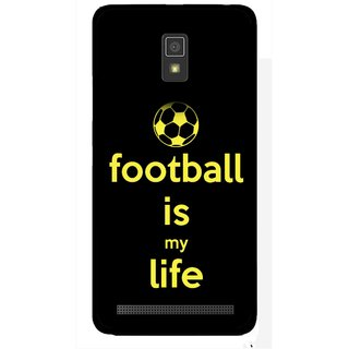 Snooky Printed Football Is Life Mobile Back Cover For Lenovo A6600 - Multicolour