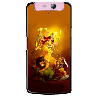 Snooky Printed Maa Durga Mobile Back Cover For Oppo N1 Mini - Yellow