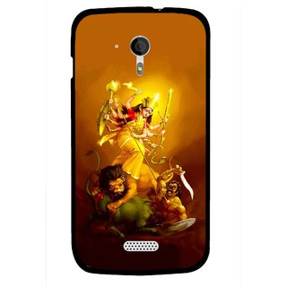 Snooky Printed Maa Durga Mobile Back Cover For Micromax A116 - Yellow
