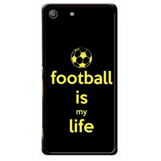 Snooky Printed Football Is Life Mobile Back Cover For Sony Xperia M5 - Multicolour