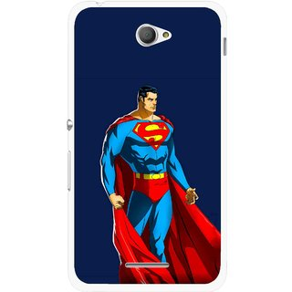 Snooky Printed Super Hero Mobile Back Cover For Sony Xperia E4 - Blue