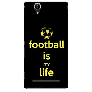 Snooky Printed Football Is Life Mobile Back Cover For Sony Xperia T2 Ultra - Multicolour